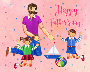 Father's day hand drawn watercolor illustration with father and two kids playing with toys. On pink dotted textured background. For cards, prints and web