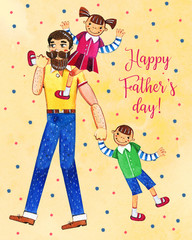 Father's day hand drawn watercolor illustration with father walking and two kids. Girl sitting on shoulders, boy walking. On yellow dotted textured background