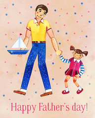 Father's day hand drawn watercolor illustration with father and daughter walking together. On pink dotted textured background