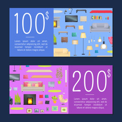 Coupons on 100 and 200 Dollars Vector Illustration