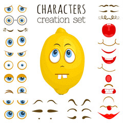 A set of elements for creating cartoon characters. Vector illustration. The designer of emotions, feelings and moods.