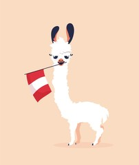 Cute cartoon lama with flag of Peru on pink background. Vector illustration