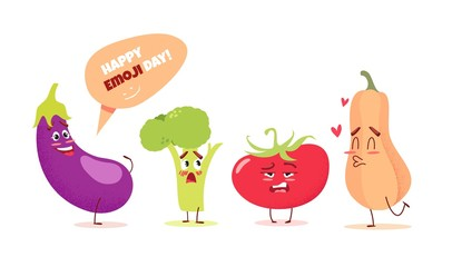 Cute cartoon vegetableswith different emotions. Happy emoji day concept. Vector illustration