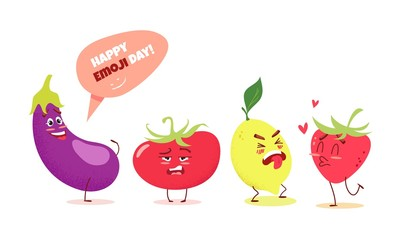 Cute cartoon vegetables and fruits with different emotions. Happy emoji day concept. Vector illustration