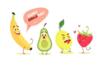 Cute cartoon fruits with different emotions. Happy emoji day concept. Vector illustration