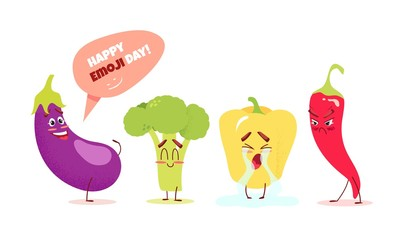 Cute cartoon vegetables with different emotions. Happy emoji day concept. Vector illustration