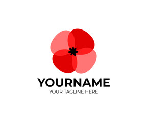 Poppies flower and plant, red color, style overlap and overlay, logo template. Red poppy and flora, vector design. Nature illustration