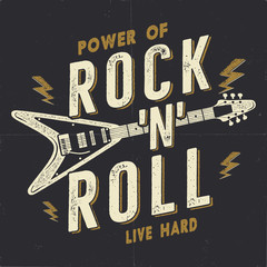 Vintage Hand Drawn Rock n Roll Poster, Rock Music Poster. Hard Music Tee Graphics Design. Rock Music T-Shirt. Power of Rock n Roll quote. Stock retro wallpaper, emblem.