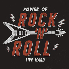 Vintage Hand Drawn Rock n Roll Poster, Retro Music Background. Musical Tee Graphics Design. Live Hard T-Shirt.Stock