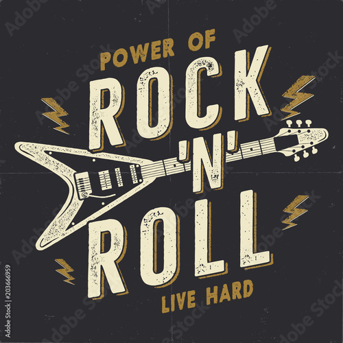 Vintage Hand Drawn Rock N Roll Poster Music Hard Tee Graphics