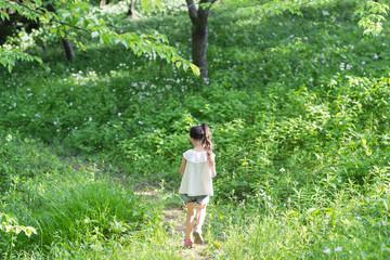 森の小道を歩く女の子