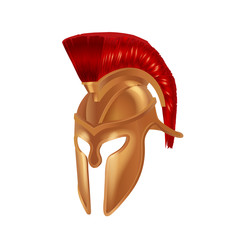 Realistic Spartan Ancient Greek, Roman helmet. Bronze protective headgear.