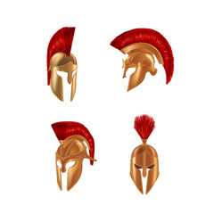 Set realistic Spartan Ancient Greek, Roman helmet. Bronze protective headgear.