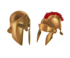 Set realistic Spartan Ancient Greek, Roman helmet. Bronze protective headgear.