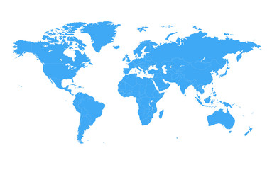 Spoed Foto op Canvas Wereldkaart Colored vector world map illustration isolated over white background