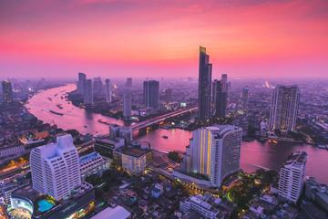 Bangkok skyline at sunset, Thailand