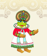 original drawing of traditional indian kathakali dancer