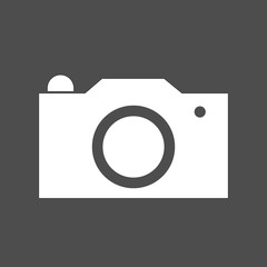 Camera icon vector illustration. Isolated pohotocamera symbol. Photo camera line concept. Photo gadget graphic design. Camera pictogram on grey background.