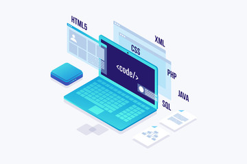 Web Development concept, programming and coding. Laptop with virtual screens on white background. Isometric vector illustration.