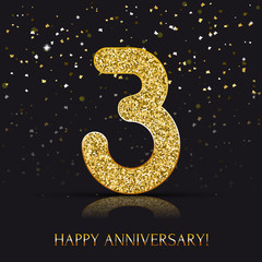 3 years Happy anniversary banner with gold elements. Vector illustration.