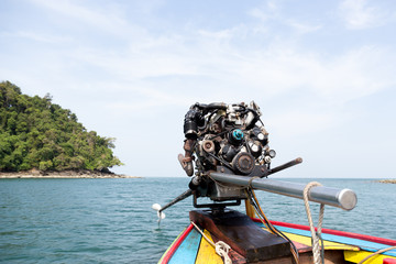 Engine of a long tail boat