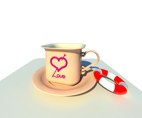 The cup of love served with saving belt 3d illustration 3. Peach color mug and saucer, white background, perspective view. Collection.