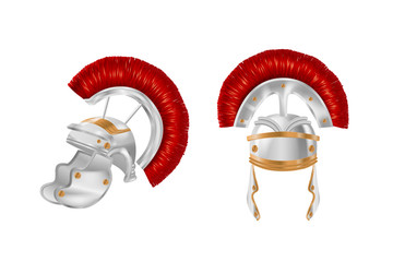Realistic Spartan Ancient Greek, Roman helmet. Silver protective headgear.