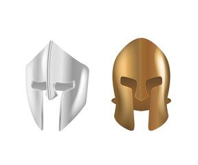 Realistic Spartan Ancient Greek bronze and silver protective headgear.