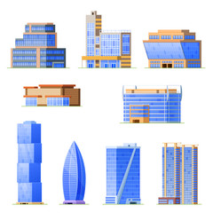 Set of skyscraper urban office buildings, modern high-rise architectural structures.