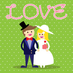 Wedding couple. Bride and groom. Flat style vector illustration. love card. heart background