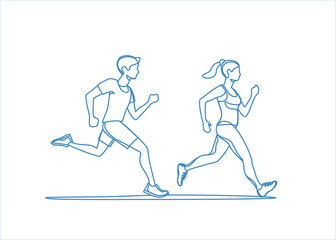 Healthy lifestyle vector illustration. Young people jogging and exercising.