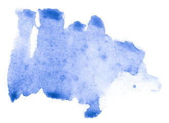 Hand drawn blue watercolor shape for your design. Creative background, hand made decoration.