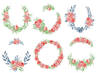 Wall Mural - Peonies wreaths set Hand painted watercolor combination of Flowers and Leaves