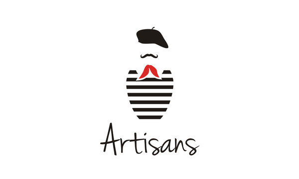 Artisans France, French Mustache Painter Artist Costume with Beret, Red Scarf Tie, and Black White Striped T-Shirt logo design inspiration