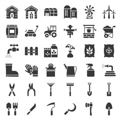 Farm and agriculture equipment, solid icon