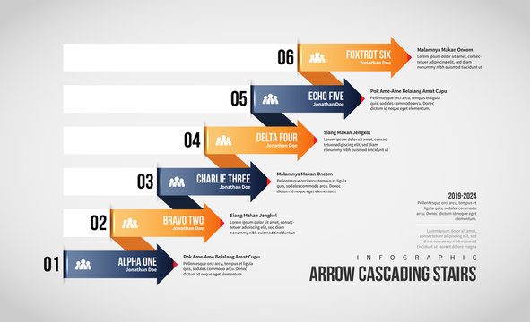 Arrow Cascading Stairs Infographic