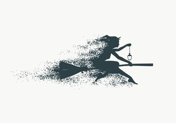 Illustration of flying young witch icon composed of particles. Witch silhouette on a broomstick. Lamp in hand. Halloween relative image.