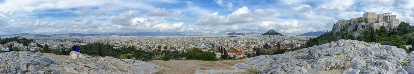 Panoramic view of Athens, Greece from the National Observatory of Athens (left) to Acropolis (right). Vantage point of Areopagus hill in Plaka.