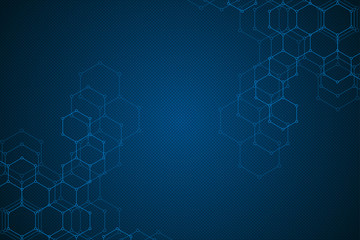 Hexagon background design. Geometric abstract background with molecular structure.