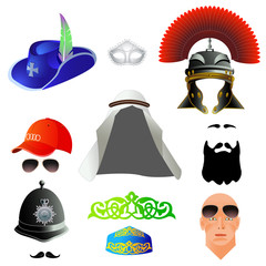 Set cartoon top hats, different professions and nations. Vector