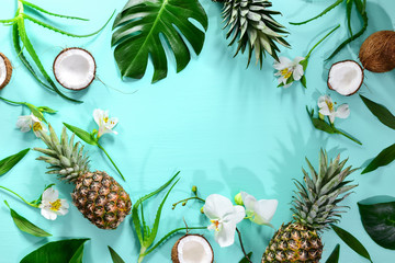 Summer tropical theme background, flat lay composition with a space for a text