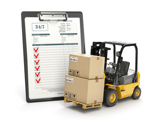 Delivery service concept. Forklift with parcel carton cardboard boxes and  clipboard with receipt form isolated on white.