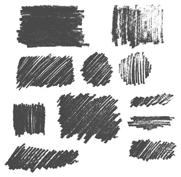 Hand drawn pencil drawing texture scribble vector set eps10