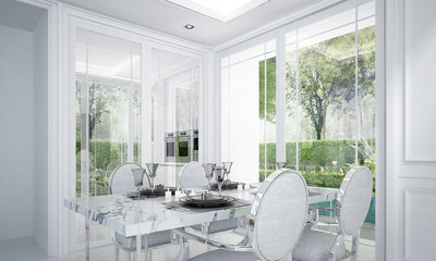 The luxury white dining room interior design and green garden background