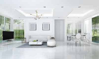 The luxury white living and dining room interior design and green garden background