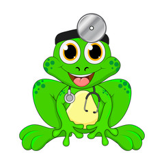 Cartoon frog doctor isolated on white background