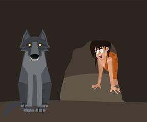 dangers of caveman life vector cartoon