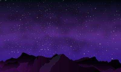 night mountains in purple tones