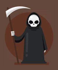 Grim Reaper Death character mascot standing and holding scythe. Halloween hell fate destiny concept. Vector flat cartoon isolated design graphic illustration