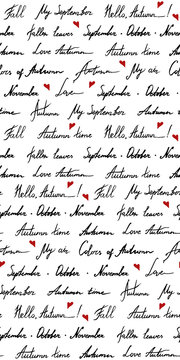 Autumn word phrase italic lettering ink monochrome black and white red art vector seamless pattern texture background